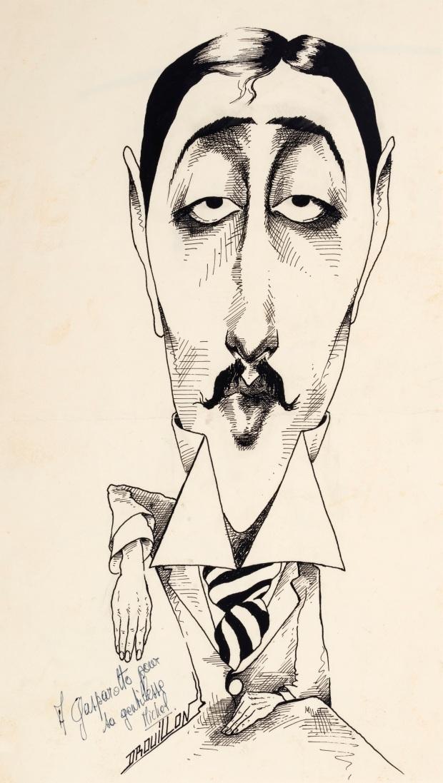 Michel-Drouillon-Caricatura-de-Marcel-Proust-c.-1980